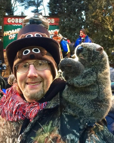 Man with custom-made Groundhog Day hat