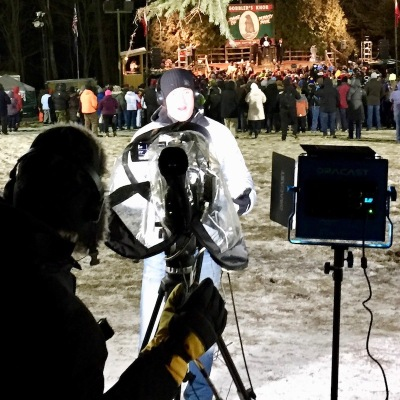 news reporter and cameraman filming segment at Groundhog Day, 2018