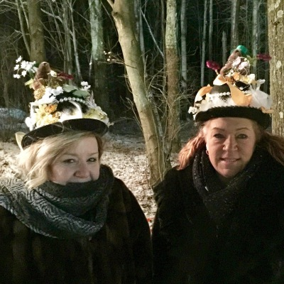 two women with custom-made Groundhog Day hats