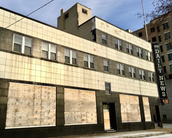 former offices of The Daily News, now with boarded up, downtown McKeesport, PA
