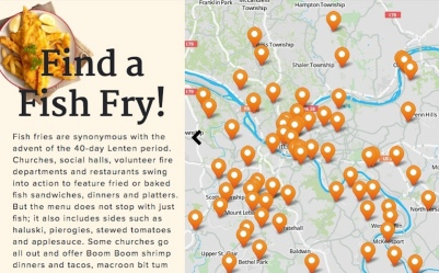 screen capture of Pittsburgh Post-Gazette's interactive fish fry map