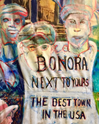 "painting of historic sign reading ""Donora: next to yours, the best town in the USA"", Donora Smog Museum"
