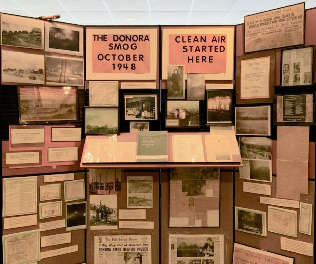 display with news stories and photographs of the Donora smog of October, 1948