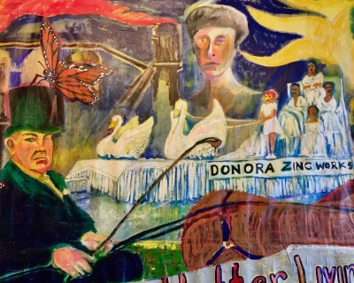 painting of images from Donora history overlapping, Donora Smog Museum
