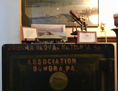 safe from Donora Slovak club or beneficial society and other historical items, Donora Smog Museum