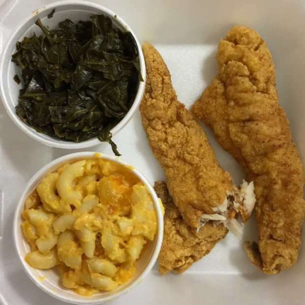 catfish dinner from New Jerusalem Holiness Church, Pittsburgh, PA