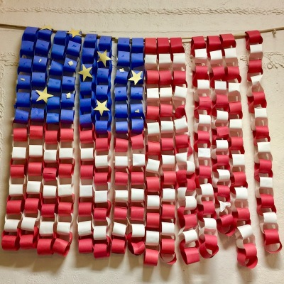 American flag made from construction paper