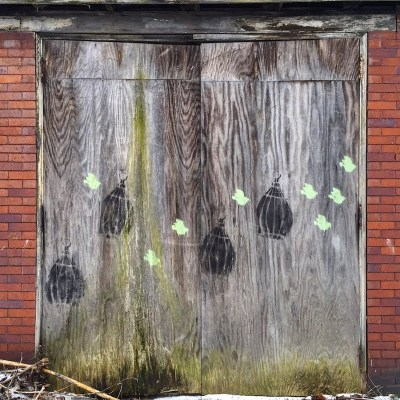 garage door opening covered in plywood and stenciled with birds and birdcages, Pittsburgh, PA
