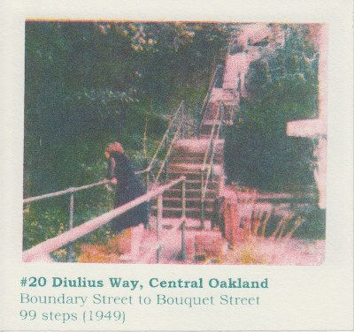 Risograph print of a Polaroid photo showing public stairs with a woman leaning on handrail