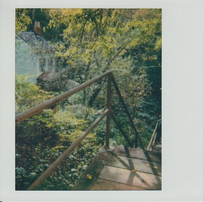Polaroid photo of public staircase with trees and house behind