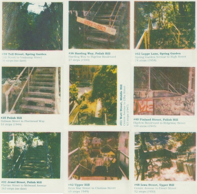 collage of nine Risograph prints made from Laura Zukowski's steps photos
