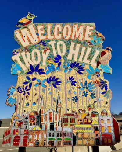 "mosaic neighborhood sign reading ""Welcome to Troy Hill"", Pittsburgh, PA"