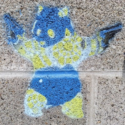 graffiti stencil of bear standing up with a pistol in each paw, Pittsburgh, PA