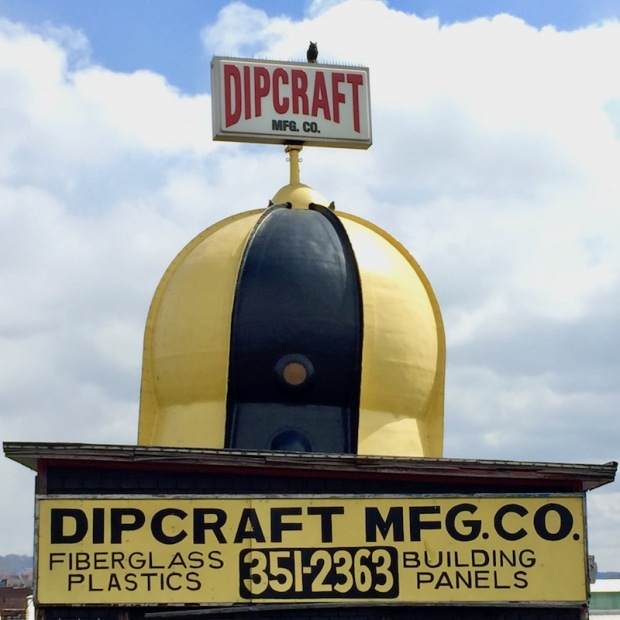 ornamental dome painted black and gold on Dipcraft Manufacturing Company building, Rankin, PA