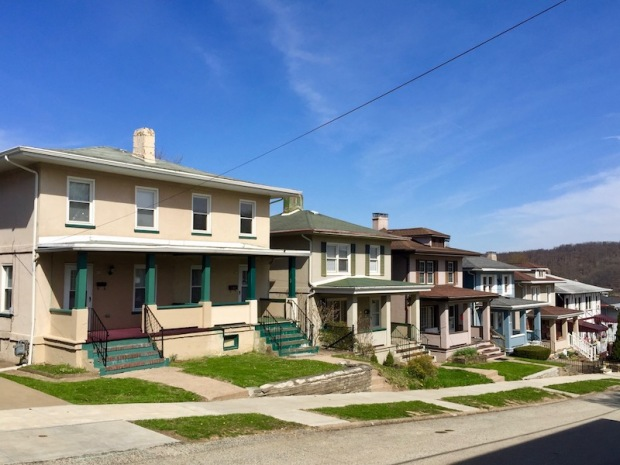 row of cement houses in Donora, PA