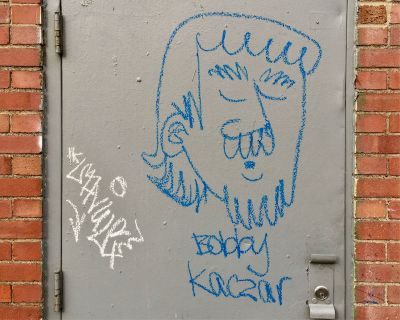 graffiti drawing of man's head with mustache, Pittsburgh, PA