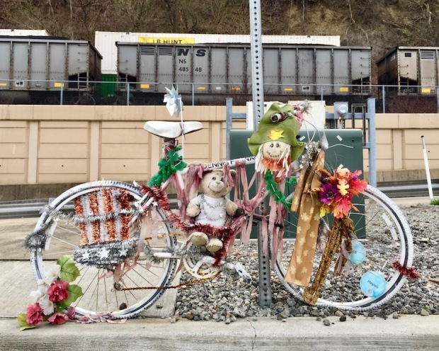 ghost bicycle memorial decorated with plastic flowers and stuffed animals, Pittsburgh, PA