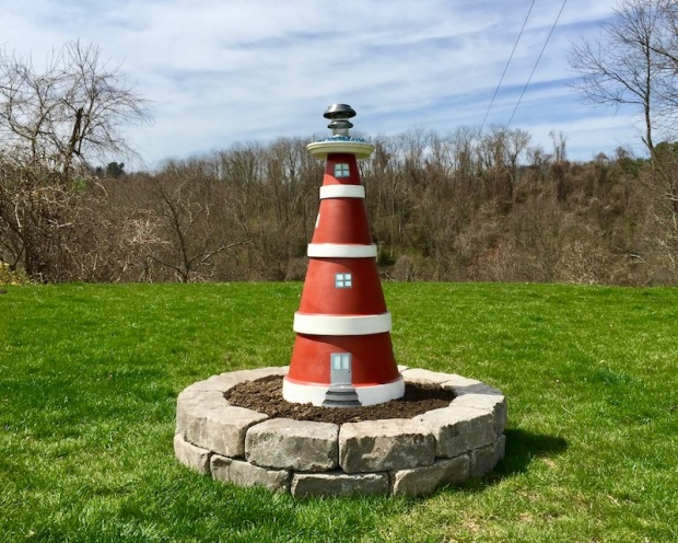 homemade decorative lighthouse made from painted flower pots, Donora, PA