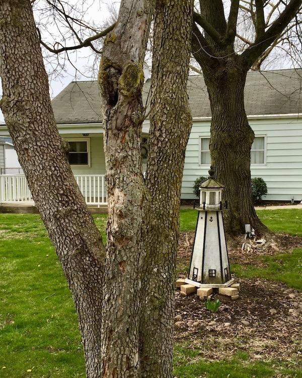 decorative lawn lighthouse, Neville Island, PA