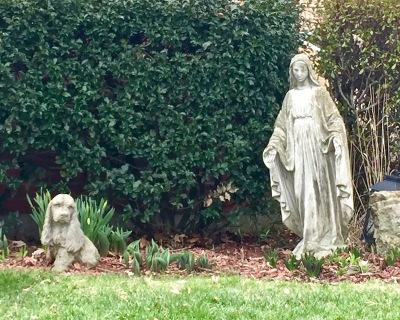 Mary statuette and dog statuette in front yard, Ambridge, PA