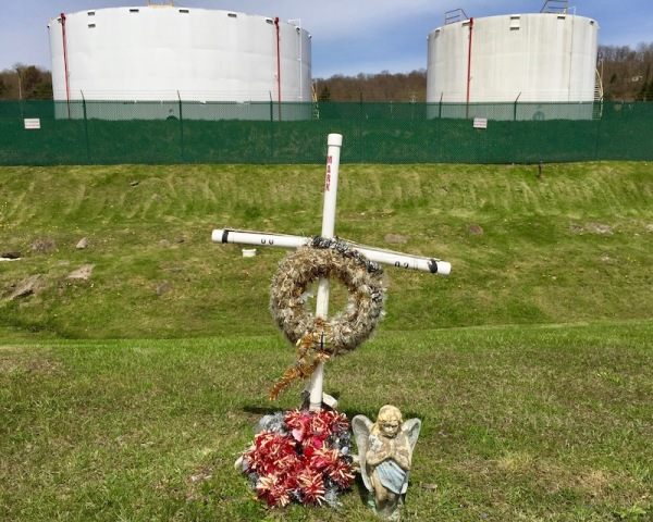 roadside memorial cross with Christmas wreathes, West Elizabeth, PA