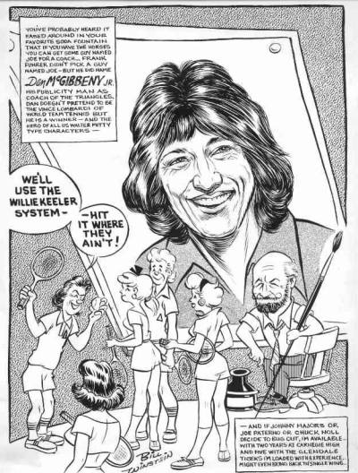 Bill Winstein comic for the Pittsburgh Post-Gazette on Danny McGibbeny taking over as coach of the Triangles, 1976