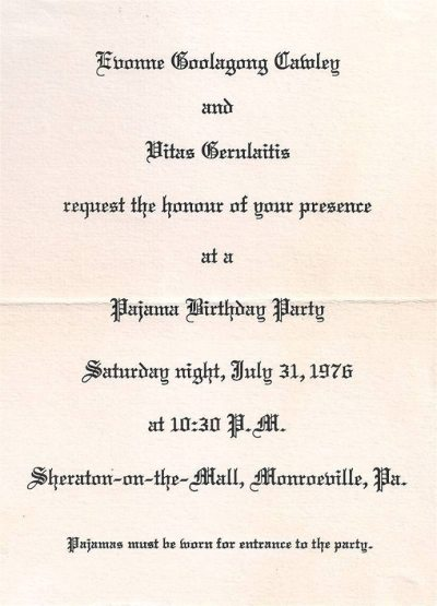 printed invitation for pajama party hosted by Evonne Goolagong Cawley and Vitas Gerulaitis, 1976
