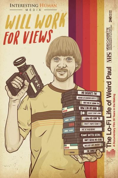 "promo poster for documentary film ""Will Work for Views: The Lo-Fi Life of Weird Paul"""