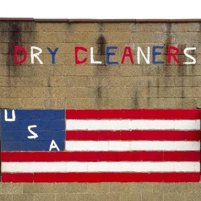 cinderblock wall with painted American flag, McKees Rocks, PA