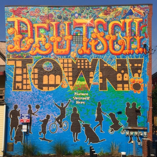 full wall mural for Deutschtown neighborhood of Pittsburgh