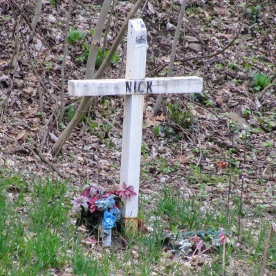 roadside memorial cross