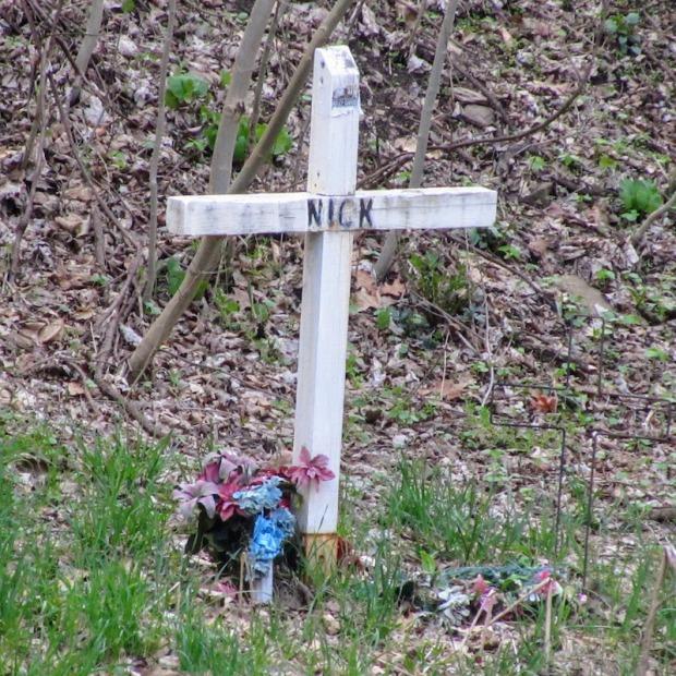 roadside memorial cross