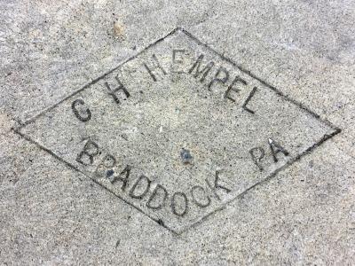 sidewalk stamp for mason C.H. Hempel, Braddock, PA