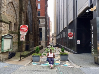 alley turned pedestrian way in downtown Pittsburgh, PA