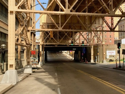 empty street with girders for raised highway, downtown Pittsburgh, PA