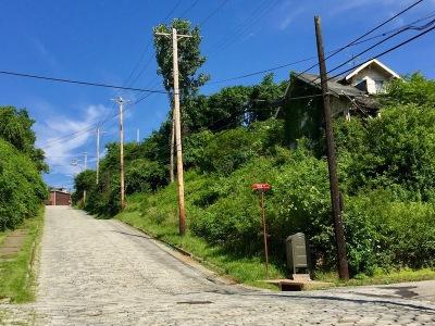steep Belgian block residential street in Duquesne, PA