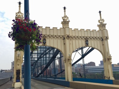 ornate iron entryway to Smithfield Street Bridge, Pittsburgh, PA
