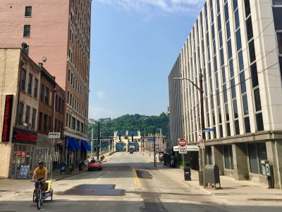 empty street in downtown Pittsburgh