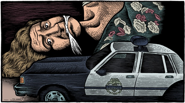 "illustration from the 1993 movie ""Striking Distance"" of woman gagged and laying on her side with a toy police car in foreground"