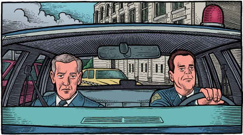 "illustration of scene from 1993 film ""Striking Distance"" with Lt. Vince Hardy (John Mahoney) and Det. Tom Hardy (Bruce Willis) in police car"