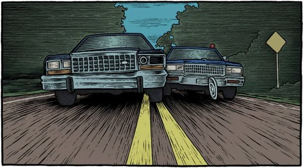"illustration based on the 1993 movie ""Striking Distance"" with two cars racing down a dark road"
