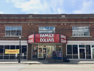Family Dollar store with the marquee of the former Bellevue Theatre, Bellevue, PA
