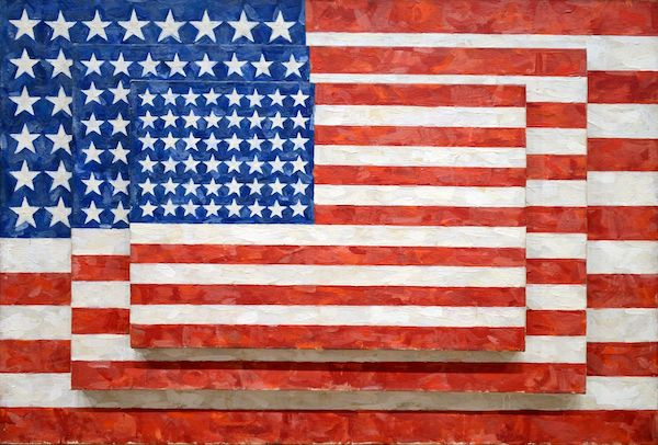 """Jasper Johns stacked painting """"Three Flags"""""""
