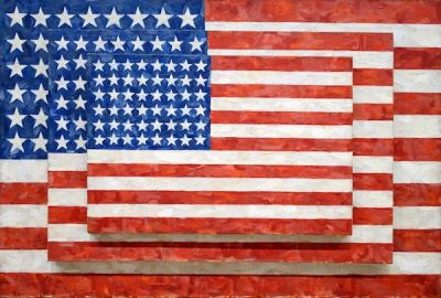"Jasper Johns stacked painting ""Three Flags"""