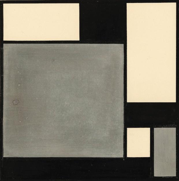 "Karl Peter Röhl's geometric abstraction ""Komposition mit Ruhendem Quadrat"""