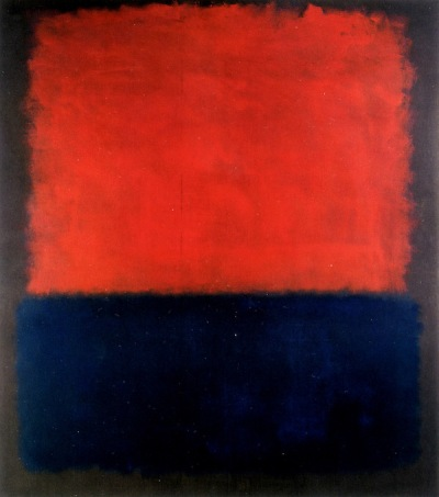 "minimal abstract painting ""Number 207 (Red over Dark Blue on Dark Gray)"" by Mark Rothko"