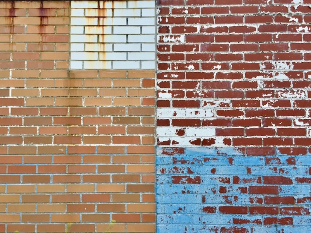 brick wall with many styles and paint colors, Clairton, PA