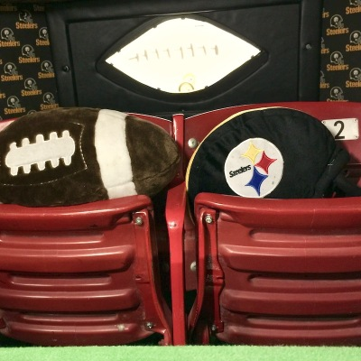 two seats from Three Rivers Stadium used as back seats in a Steelers tribute car
