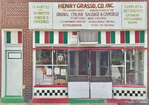 red, white, and green painted storefront for Henry Grasso, Co. Inc. Pittsburgh, PA