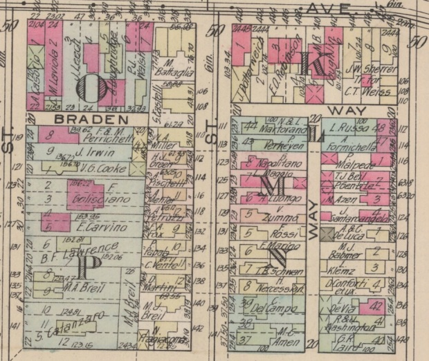 detail from 1924 platte map showing two blocks of the Larimer neighborhood with a majority of property owners having Italian surnames